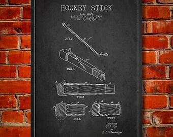 1928 Hockey Stick Patent, Canvas Print,  Wall Art, Home Decor, Gift Idea