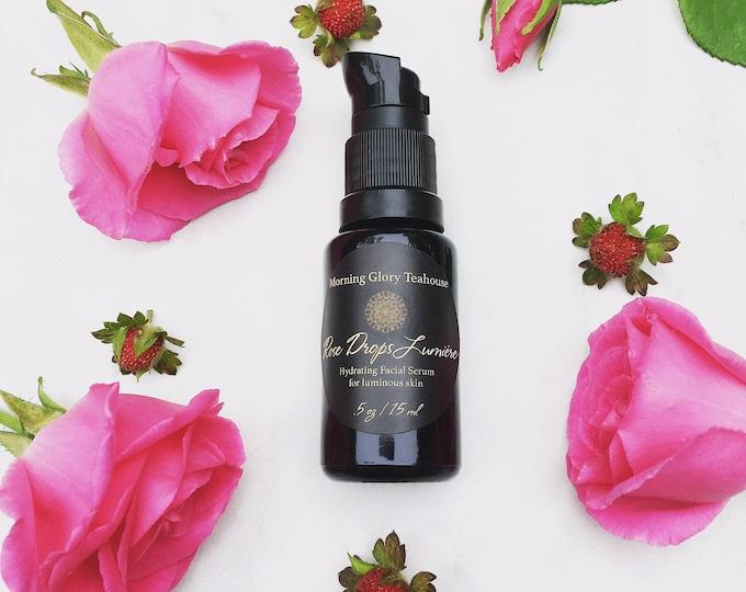 Rose Drops Lumiére ~ Hydrating & Nourishing Botanical Facial Serum for luminous skin, Moroccan Rose and Davana (Strawberry-like) Aroma