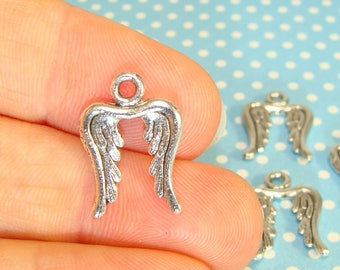 6 Wing Charms Silver Plated Pewter USA Made 2 Sided Double Wings (41157) 18mm for Guardian Angel Bracelet Earrings Jewelry Supplies Bulk