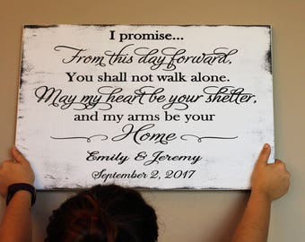 Rustic Wedding Vow Sign Made From Reclaimed Wood - From This Day Forward Wood Sign - Wedding Gift Idea - Rustic Wedding Decor - Carved Sign