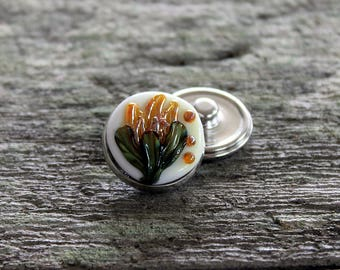 Fantasy Floral Snap Button White Yellow Silvered Glass