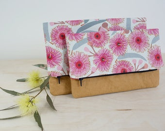 Washable paper clutch. Foldover clutch. Pink floral purse. Bridesmaid gifts. Clutch bag. Vegan leather bag.  Wedding clutch. Australiana bag