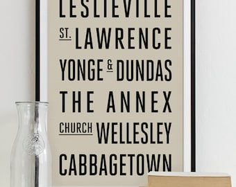 Wall Art Subway Sign Typography Poster - Modern Art Print TORONTO City