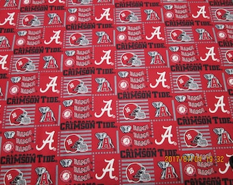 "University  of  ALABAMA  Square  fabric  "" TIDE  "" New  Style - 1/2 YARD  Piece - 100% Cotton Brand  New Design"