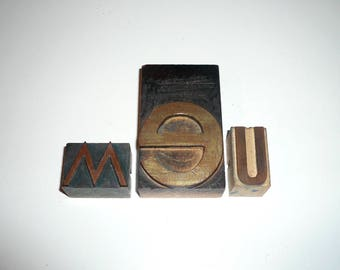 Wood Letterpress Printing blocks Letters We or Me Collectible Home Decor Free Shipping