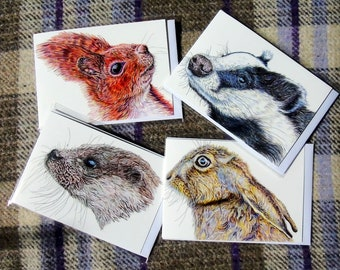 Pack of 4 different A6 size (105x149mm folded) blank greetings cards featuring illustrations of British wildlife