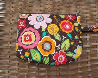 Brown Floral Quilted Square Wristlet