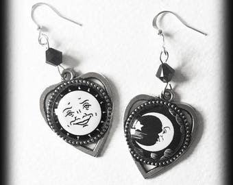 Ouija Earrings, Ouija Planchette, Ouija Board Jewelry, Sun Moon Earrings, Witch Jewelry, Occult Jewelry, Occult Earrings, Black and White