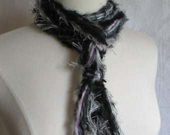 The Knotty Scarf in Black and White plus Grey and Pink