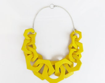 Yellow Chunky Necklace, Link Necklace, Geometric Statement Necklace, Hexagon Necklace
