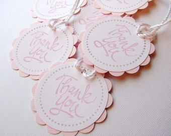 Baby Shower Favor Tags - Thank You Tags - PINK - Set of 12 tags - Handmade