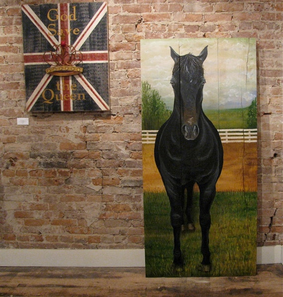 Horse Original acrylic painting on reclaimed rustic solid wood