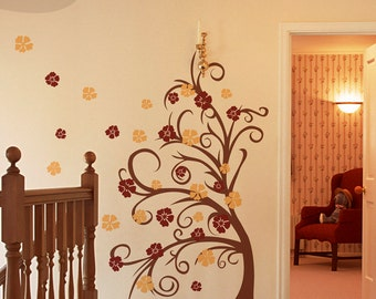 Curly Tree and Flower in the Wind - Vinyl Wall Decal