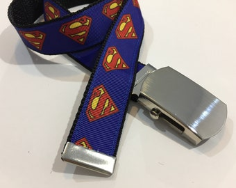 "Superman Belt in All Sizes with a Military Buckle 1"" Wide"