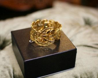 SALE Chanel Vintage 2 CC Logos Large Gold Plated Bangle Bracelet