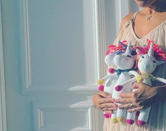Unicorn Crochet Amigurumi - Unicorn Stuffed Animal - Toddler Crochet Toy - Baby Shower Gift - Crochet Gift for Baby - Unicorn