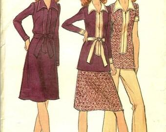 1970's Butterick Pattern 6400 Womens Dress, Top, Pants & Skirt Size 38 Bust 42