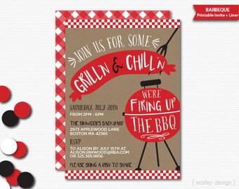 BBQ Invitation Barbeque Invitation Backyard Barbeque Grill Invitation Cookout Invitation Summer Party Summer BBQ Grad Printable Invitation