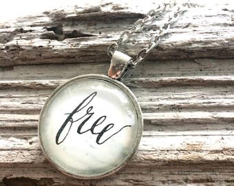 Free Calligraphy Glass Pendant on Silver Chain