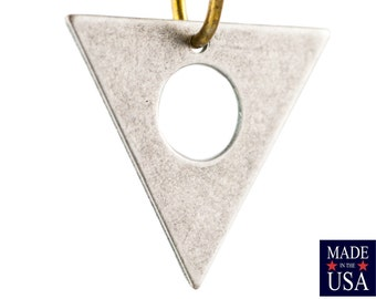 Bottom Hole Center Cutout Silver Ox Flat Triangle Charms Drops 17mm (6) mtl479L
