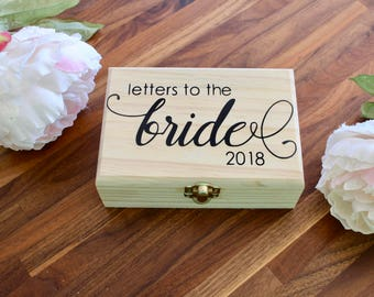 Letters to the Bride Box| Small Keepsake Box | Love Letter Box | Anniversary Box | Bride Gift | Bridal Shower Gift | Wooden Wedding Box