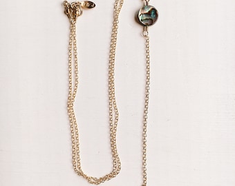 Solis Siren Necklace, Gold Lariat with Abalone Shell Gem