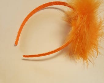 Orange fluffy headband; halloween headband; fall headband; costume headband; party headband;