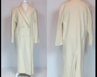 Vintage IVORY WOOL COAT Double breasted Full Length Dress Coat