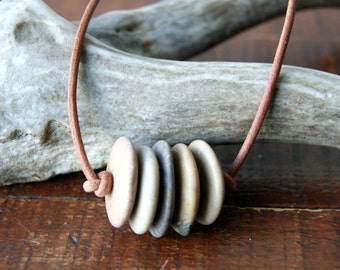 Beach stone bar necklace with leather cord - natural jewelry