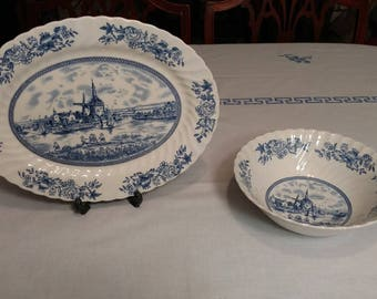 Johnson Brothers Tulip Time Serving Platter and Bowl