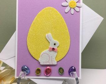 Easter Card, Bunny Easter Card, Easter Bunny Gem Card, Holiday Card, Staionary Card, Blank Inside Card