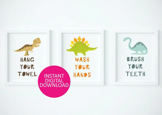 dinousaur bathroom rules, kids bathroom sign, dinosaur bathroom decor, boys bathroom prints, bathroom rules art for boys, dinousaur prints