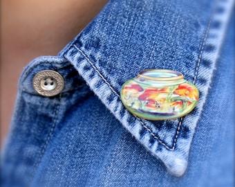 Goldfish Bowl Tiny Pin - Goldfish Bowl - Goldfish Pin - Goldfish Jewelry - Shrink Plastic - Goldfish - Printed Plastic - Tie Tack - Fish