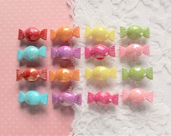 32 Pcs Assorted Iridescent Wrapped Candy Beads - 22x10mm
