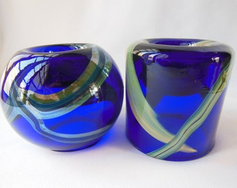 Cobalt Art Glass Candle Holders, Made in Egypt