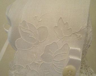 White Cutwork Handkerchief Bonnet