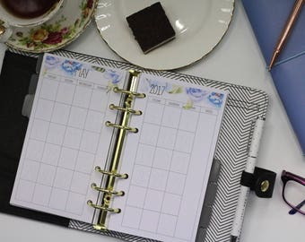 Personal Monthly Planner Insert, Blue Floral, MO2P. Fits Kikki-K and Filofax