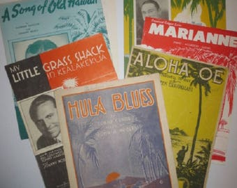 Vintage Hawaiian Sheet Music, Lot of 7 Pieces // Aloha Oe, Hula Blues, My little Grass Shack,Sumatra, A Song of Old Hawaii, Marianne