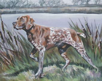 gsp German Shorthaired pointer art CANVAS print of LA Shepard painting 8x10 dog art