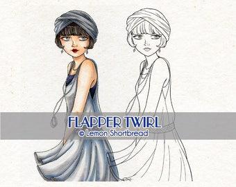 Digital Stamp Flapper Twirl Girl, Art Deco Digi Vintage Fashion Summer, Coloring Page, Scrapbooking Supplies, Clip Art, Instant Download