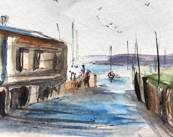 Seascape ORIGINAL Miniature Watercolour 'The Slipway' Harbour, Boats, ACEO, For him, For her, Home Decor Gift Idea Wall Art, Free Shipping