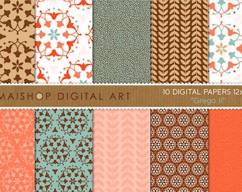 Digital Paper 'Grego II' Brown, Turquoise, Red, Orange, Gold... Floral Ornament, Laurel Leaves... for Scrapbook, Invites...
