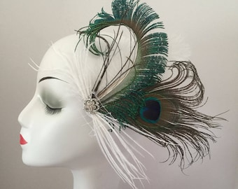 Feather Fascinator Hair Clip Headband Wedding Gatsby Party Costume Headpiece