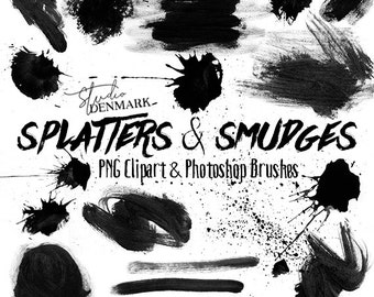 Watercolor Photoshop Brushes - 19 Brush Strokes / Smudges / Splatters / Loose Paint Clipart and Brushes -  Commercial Use Instant Download
