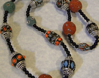 Black,Turquoise and Coral Kashmiri Lac and Acrylic Bead Necklace