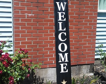 "Welcome Sign 72"" Large Welcome Vertical Farmhouse Style Wooden Sign 6 Ft Tall 3 Pc Sign"