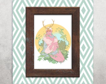 Fantasy / Pink Forest Fairy / Faerie 5x7 Print
