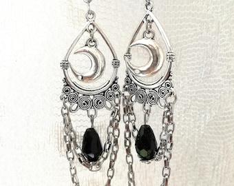 Silver drop moon earrings,gothic earrings,wiccan jewelry,drop earrings