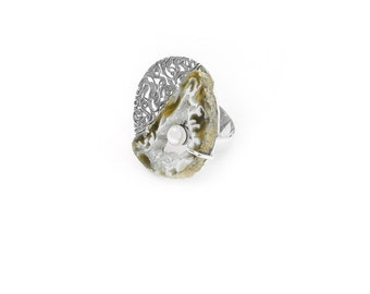Agate ring pearl ring sterling silver and red gold