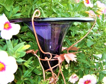 HUMMINGBIRD FEEDER, Blue-Violet, Dragonflies, stained glass, copper, Garden Art, Outdoors, Home and Living
